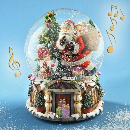 SANTA AND CHILD SNOW GLOBE WITH MUSIC TUNE WE WISH YOU A MERRY CHRISTMAS