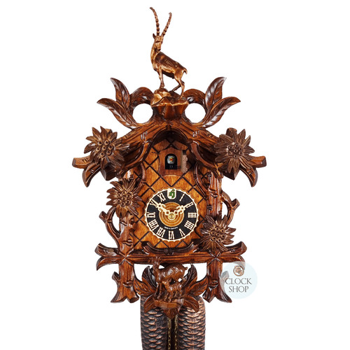 Carved 8 Day Edelweiss with Goats 38cm Cuckoo Clock BY HONES
