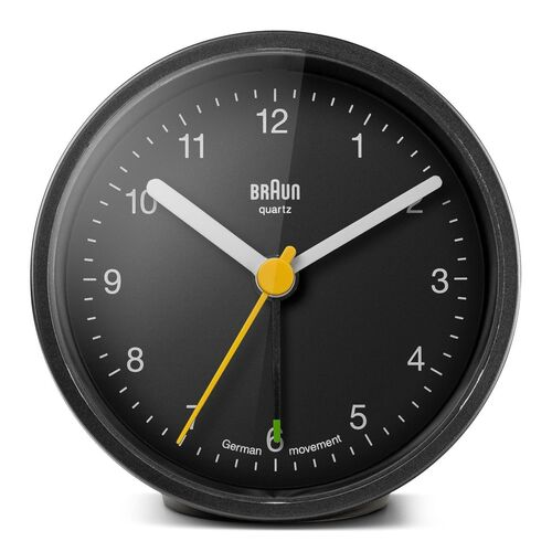 BLACK ANALOGUE CLASSIC CUT ALARM CLOCK BY BRAUN