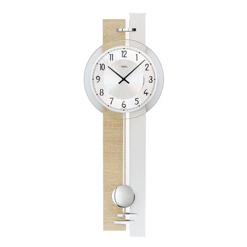 BEECH AND SILVER BATTERY WALL CLOCK WITH SILVER DIAL BY AMS