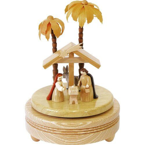 WOODEN MUSIC BOX WITH NATIVITY BY RICHARD GLASSER