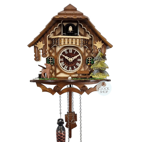 CHALET BATTERY DEER WITH BENCH SEAT AND EDELWEISS 24CM CUCKOO CLOCK BY ENGSTLER