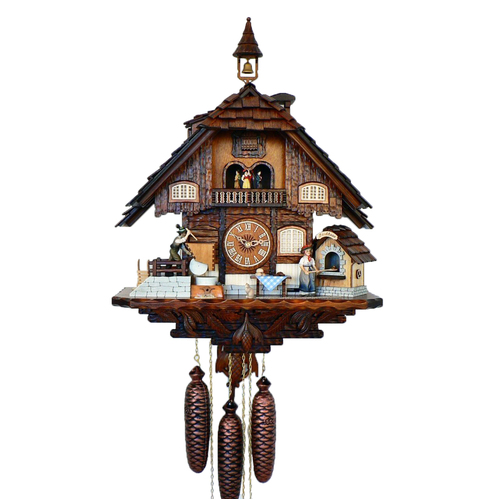 Chalet 8 Day Lady Cooking Bread And Man Milling Flour 55cm Cuckoo Clock By SCHNEIDER