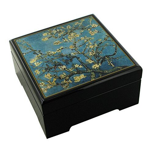 WOODEN MUSICAL JEWELLERY BOX ALMOND FLOWER (VAN GOGH) TUNE SPRING