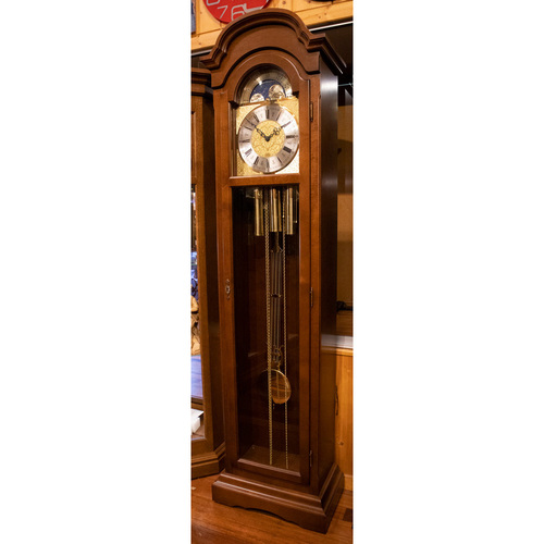 Walnut Grandfather Clock With Westminster Chime And Full Glass Door By HETTICH