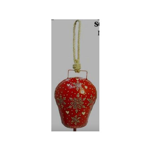 Red Bell Heart And Snowflake Large