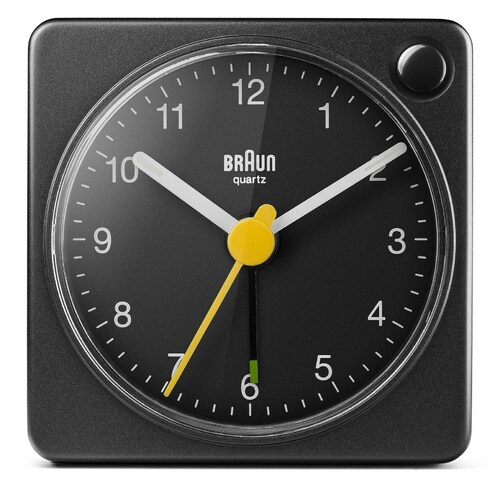 BLACK CLASSIC ANALOGUE TRAVEL ALARM CLOCK BY BRAUN *NEW MODEL WITH LIGHT