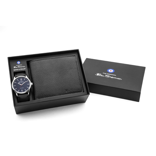 Silver Watch With Blue Dial Black Strap Wallet Gift Pack By BEN SHERMAN
