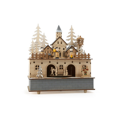 LITTLE VILLAGE MUSIC BOX WITH LED LIGHTS AND SILENT NIGHT TUNE