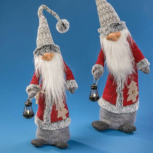 GNOME GREY AND RED WITH LED LANTERN 70CM 2 DESIGNS
