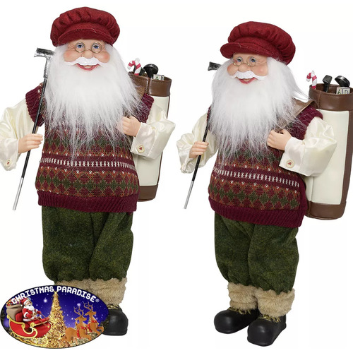 SANTA CLAUS VILLE WITH GOLF CLUB AND BAG STANDING 60CM
