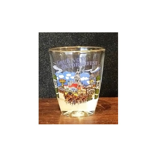 GLASS SHOT GLASS OKTOBERFEST WITH HORSES