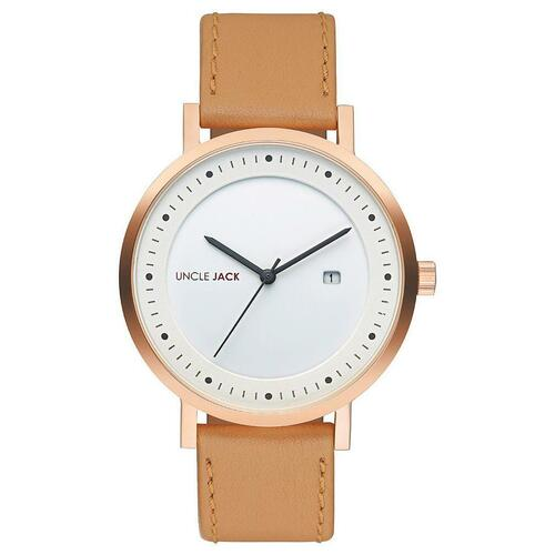 GOLD WHITE DIAL CARAMEL LEATHER BAND BY UNCLE JACK