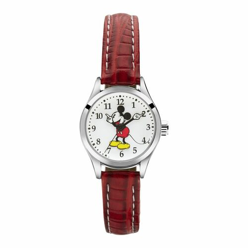 DISNEY PETITE MICKEY MOUSE WATCH WITH RED CROCO LEATHER BAND