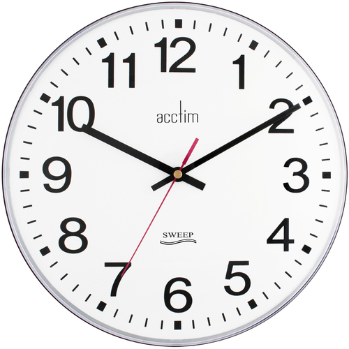 Clerkenwell - Black Round Wall Clock With Silent Sweep Second Hand 30.5cm By ACCTIM