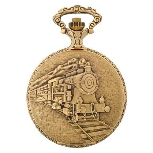 GOLD PLATED POCKET WATCH WITH TRAIN BY CLASSIQUE